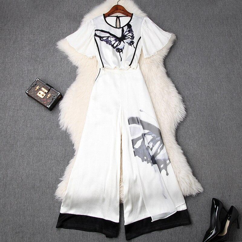 Летняя модная офисная белая шифоновая рубашка с принтом бабочки, укороченный топ и широкие брюки, брюки размера плюс, комплект из 2 предмето