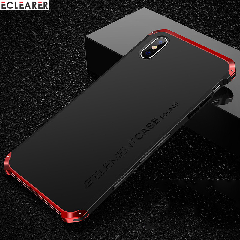 Luxury Shockproof Armor Element Metal Case For iPhone XS Max Cases Hard Aluminium PC Case For iPhone X XS XS MAX XR Back Cover in Fitted Cases from Cellphones Telecommunications