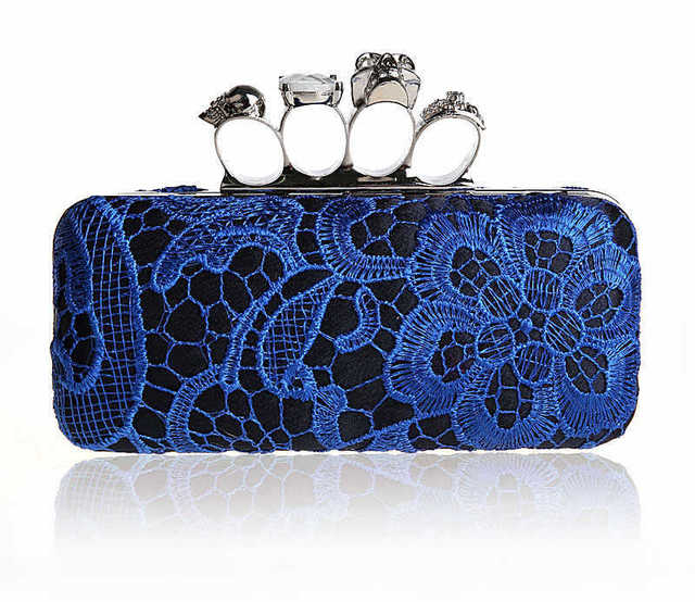 women Skull Clutch Knuckle Rings clutches, Lace Four Fingers Evening Bag with Shoulder Chain punk wallet , free shipping EB060