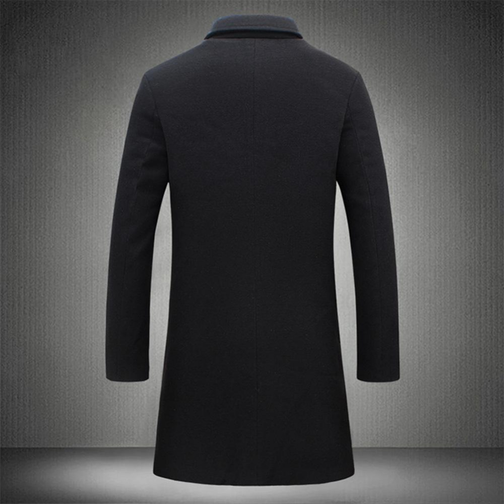 19 Fashion Men's Wool Coat Winter Warm Solid Color Long Trench Jacket Male Single Breasted Business Casual Overcoat Parka 10