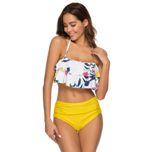 лучшая цена Swimwear Women Ruffled Floral Print Wire Free Fashion String Bikini Sexy Swimsuit Girls Thong High Waist Bikinis Bath Suits