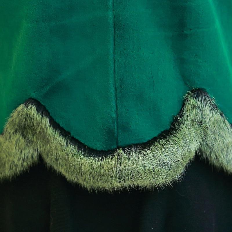 Femmes Avec 2019 Faux Fox Taille Green Nerazzurri Mince Hiver Fourrure Veste De Manteau brown Couleur 5xl Rex Col Grande Luxe Court Lapin Décontracté 5EqzxzfYw