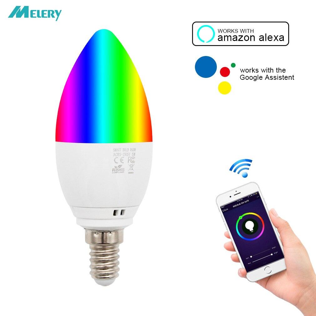 WiFi LED Candle Bulbs E14 5W Equal 40W LED Bulb RGB+Warm White Colour Changing Mood Light Homekit Works with Alexa Google Home
