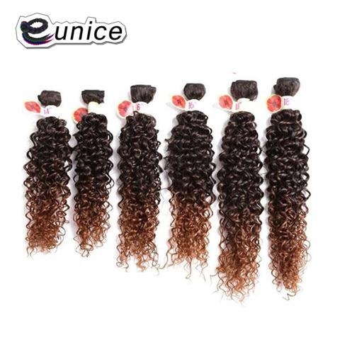 Temperatura da Fibra do Cabelo 100% de Alta Kinky Curly Cabelo Weave Pacotes Sintético Tecelagem 6 Pçs – Lote Natural Cor T1b 30 Eunice Extensão