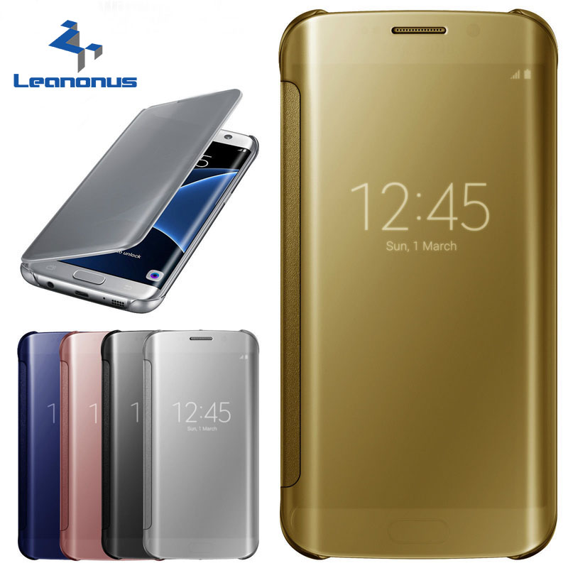 best sneakers 97426 15005 US $3.67 20% OFF|Leanonus For Samsung Galaxy Note 4 5 S7 S7 Edge Case Smart  Clear View Mirror Flip Leather Case For Galaxy S5/S6 S6 Edge S7 Edge-in ...