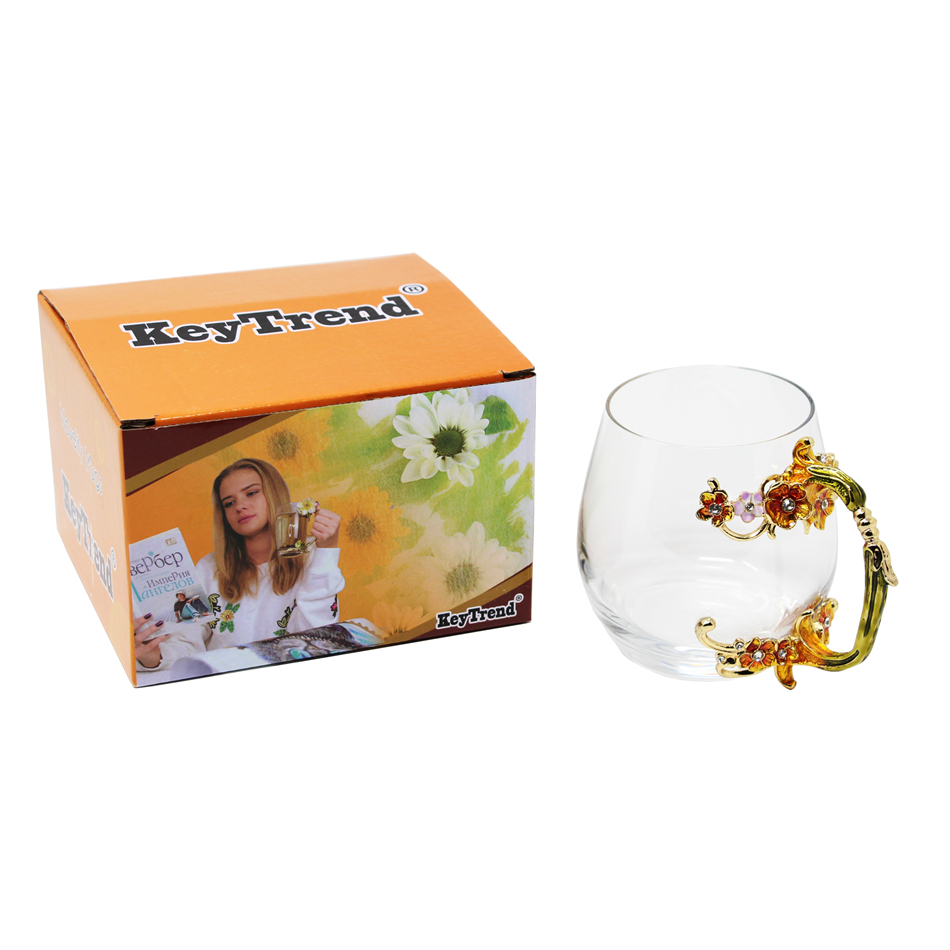 KEYTREND Enamel Coffee Mugs with Brand Glass Cup Handmade Handle Design for Gift Ideas AECL103