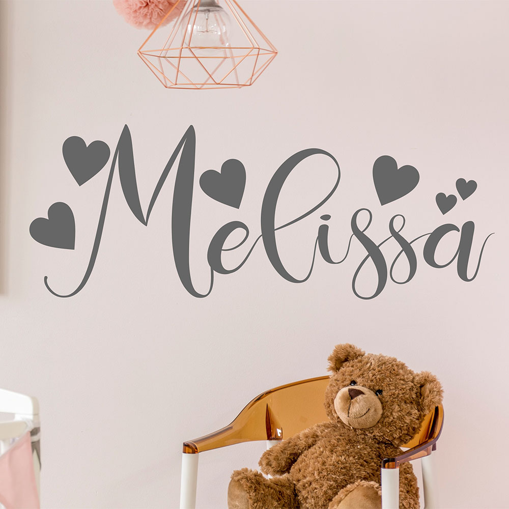 Calligraphy Style Name Vinyl Wall Sticker Personalised Decal With Hearts Baby Girls Gift Nursery Room Sweet Decoration D251