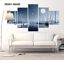 Home Decor Serenely Night Harbour Seaport Wall Art Canva No Frame Poster Modern 5 Piece Oil Painting Picture Panel Print  A-016