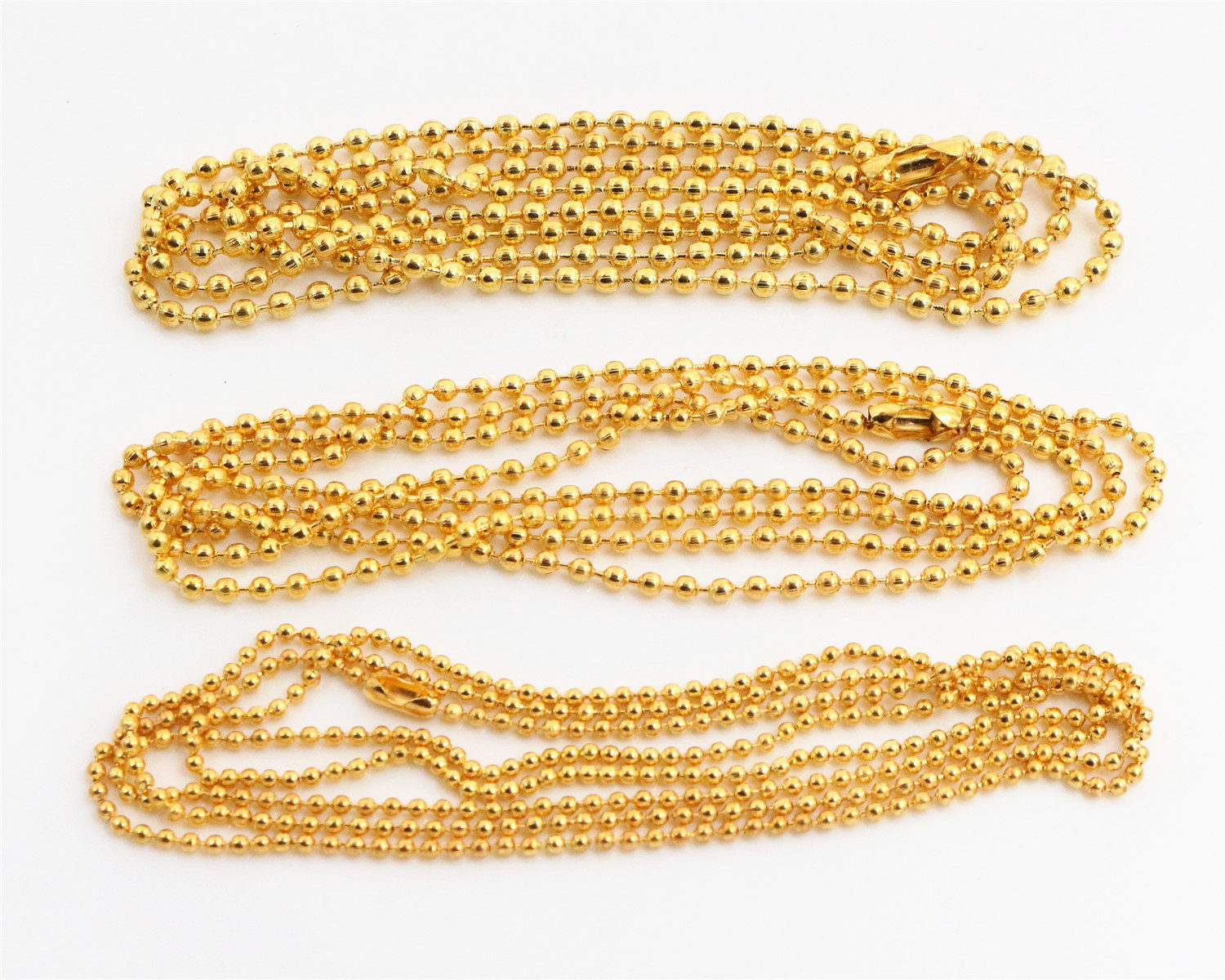 5pcs/lot 3 Size 1.5mm and 2.0mm and 2.4mm Gold Colors Plated  Ball Beads Chain Necklace Bead Connector 65cm(25.5 inch)5pcs/lot 3 Size 1.5mm and 2.0mm and 2.4mm Gold Colors Plated  Ball Beads Chain Necklace Bead Connector 65cm(25.5 inch)