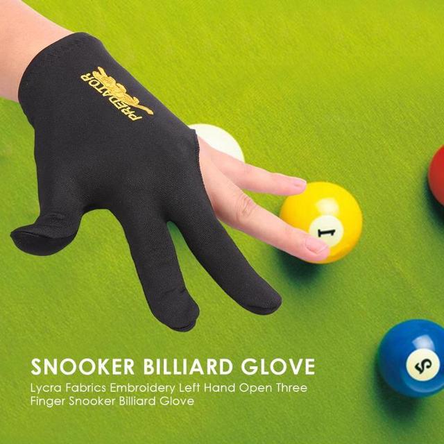 Snooker Billiard Cue Glove Spandex Left Hand Open Three Finger Glove  Accessory for Unisex Lycra Fabrics Embroidery Wholesale