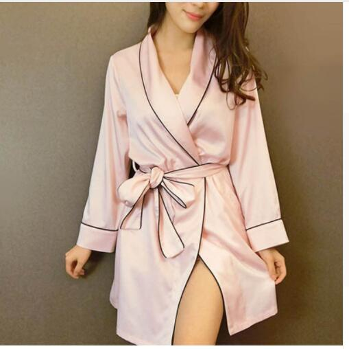 Pink Satin Robe Sexy Peignoir Femme Soie Satin Robes Women Silk Robes For Women Pijamas Batas De Seda Peignoir Kimono Rob