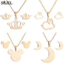 SMJEL Lovely Mouse Mickey Necklaces for Women Kids Gold Color Rabbit Moon Tiara Crown Charm Necklace Wedding Jewelry Wholesale(China)