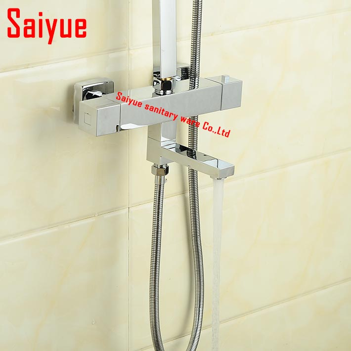 Aliexpress Buy Wall Mounted Thermostatic Bath Shower Mixer Solid Brass Chrome Square Style Thermostat Bathtub Faucet From Reliable Bronze