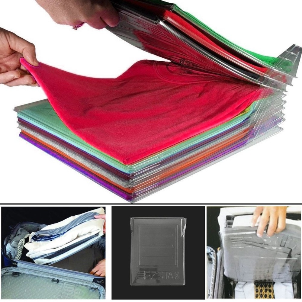 10 Layers Clothes Fold Board Clothing Organizer Shirt Folder For Travel Home Closet Drawer Stack Home Essential Closet Organizer slide out fold down ironing iron board closet wardrobe cloakroom concealed
