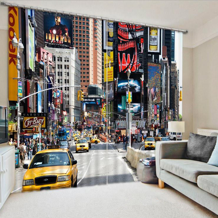 Online Shop Sunnyrain 1 Piece New York City Scenery Sheer Curtains