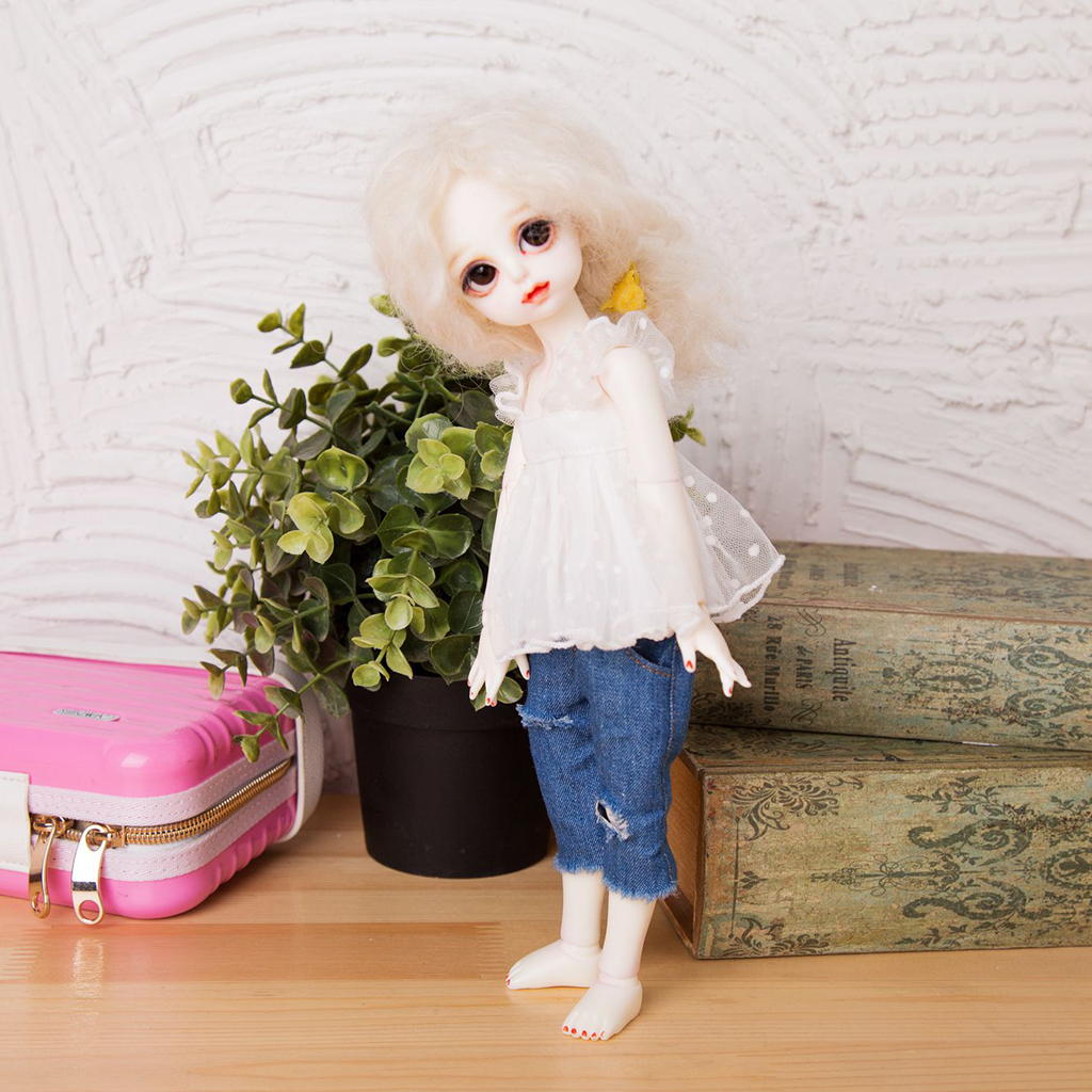 Cute 1/6 BJD Summer Clothes White Lace Tops Casual Outfit for SD DZ SOOM Girl Doll Dress Up Clothes Clothing Dolls Accessories free match stockings for bjd 1 6 1 4 1 3 sd16 dd sd luts dz as dod doll clothes accessories sk1