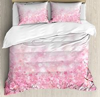 Light Pink Duvet Cover Set Japanese Cherry Blossom Sakura Tree with Romantic Asian Nature Theme, 4 Piece Bedding Set