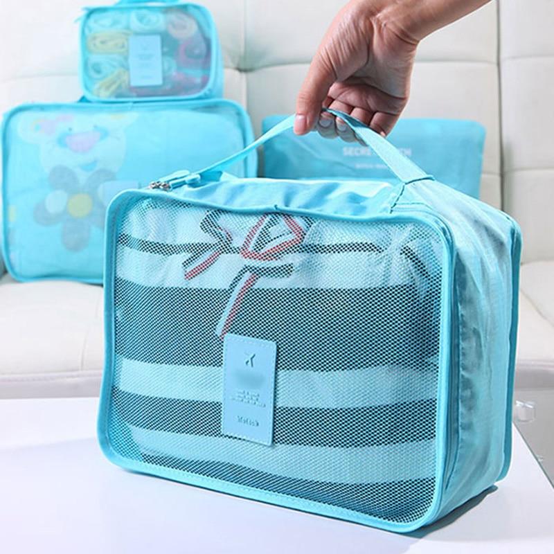 IUX نايلون التعبئة مكعب حقيبة سفر نظام دائم 6 قطع مجموعة سعة كبيرة من حقائب ملابس للجنسين فرز تنظيم بالجملة