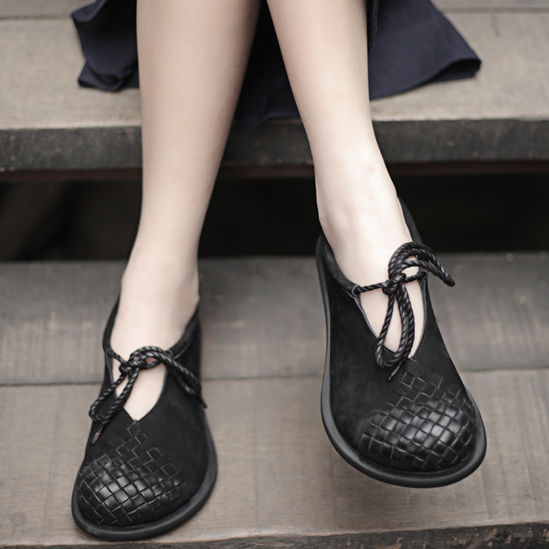 2019 Spring Handmade Vintage Shoes Women Flats Cow Suede Leather Round Toes Lace Up Comfortable Lady