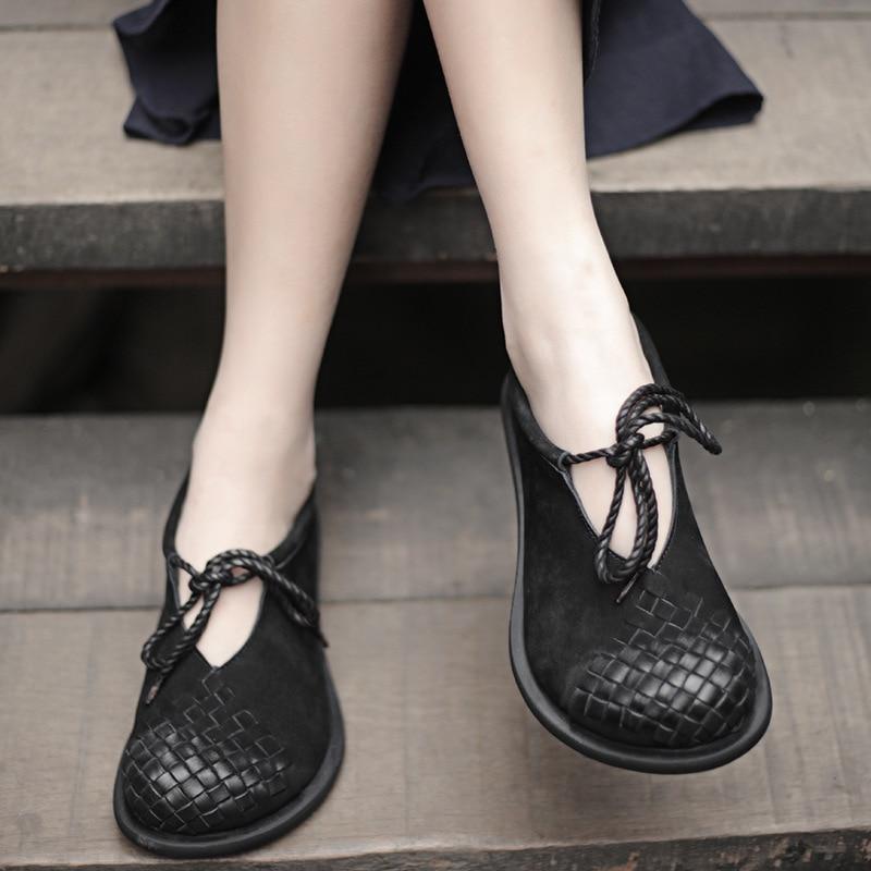 2019 الربيع اليدوية خمر أحذية النساء الشقق البقر المدبوغ جلدية جولة أصابع الدانتيل يصل مريحة أحذية سيدات مسطحة-في أحذية نسائية مسطحة من أحذية على  مجموعة 1