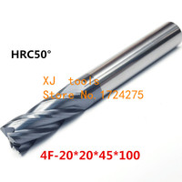 HRC50 4F 20*20*45*100 Alloy Carbide Milling Tungsten Steel Milling Cutter End Mill coating:nano,The Lather,boring Bar,machine
