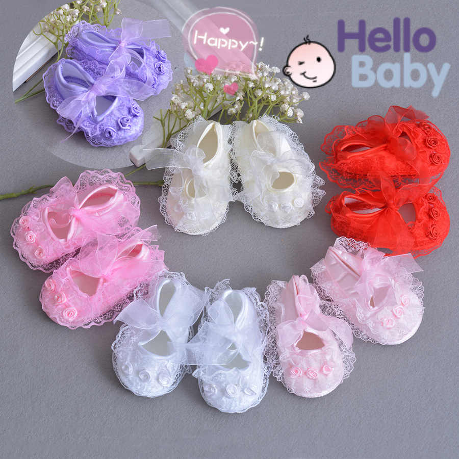 09b80260d Recién Nacido bebé niña flor encaje zapatos de suela suave bendición zapatos