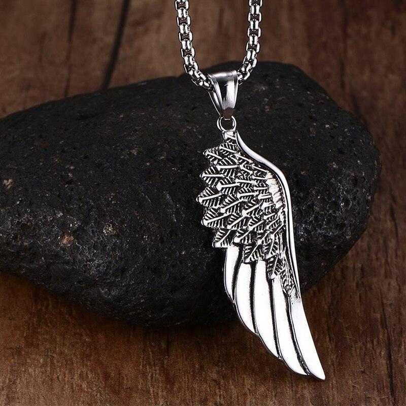 """Nouveau gothique aile d'ange pendentifs colliers ton argent Kettingen Kolye mâle accessoires gratuit boîte en acier inoxydable chaîne 24"""""""