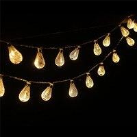 3m 30pc Luminaria Outdoor Mesh Hollow Droplets Nightlight Warm White Battery LED String Christmas Lights Navidad
