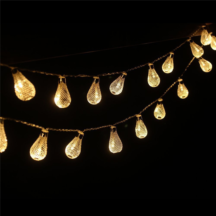 Warm White Outdoor Christmas Lights: 3m 30pc Luminaria Outdoor Mesh Hollow Droplets Nightlight Warm White  Battery LED String Christmas Lights Navidad,Lighting