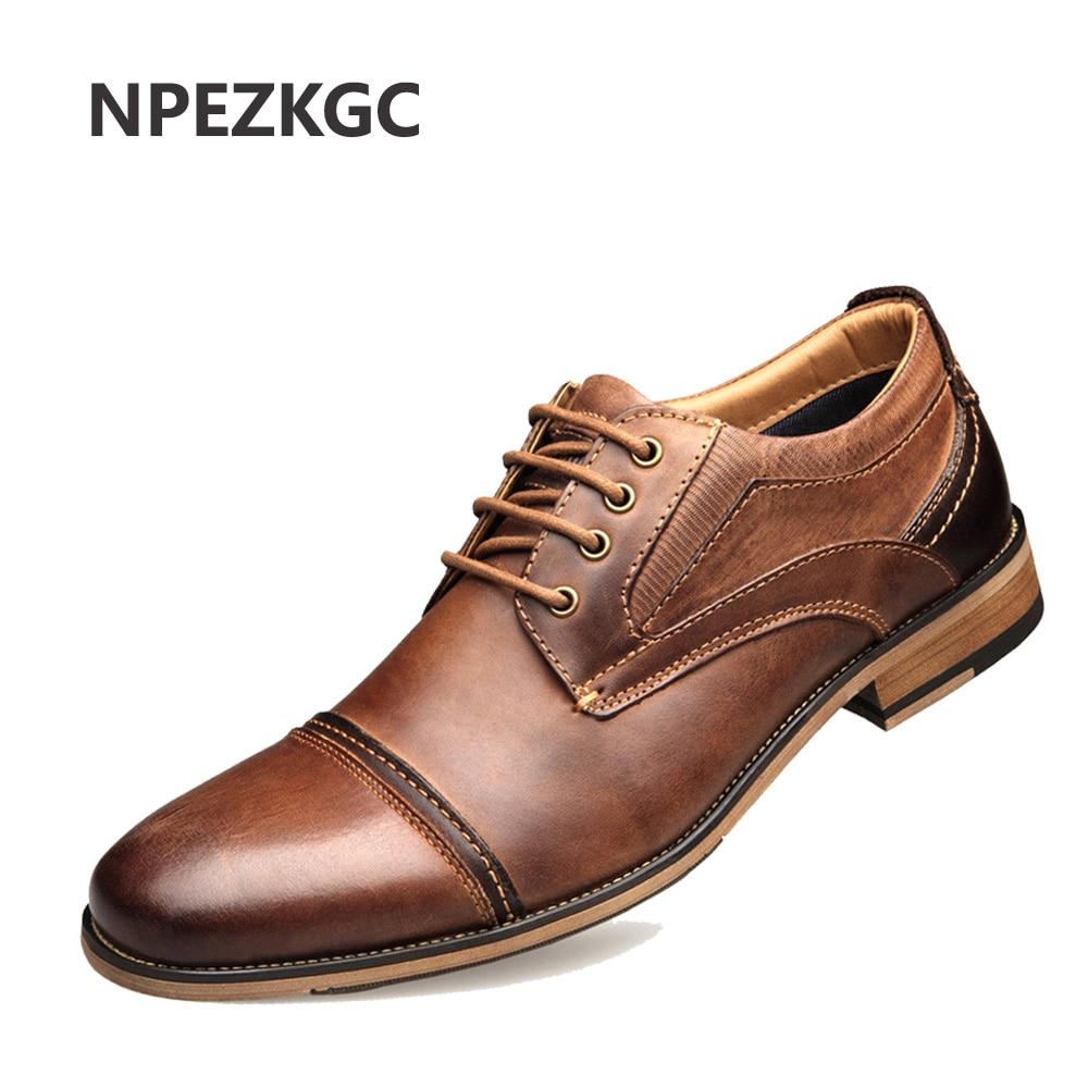 NPEZKGC 2019 New Men Leather Shoes Man Flat Classic Men Dress Shoes Leather Italian Formal Oxford