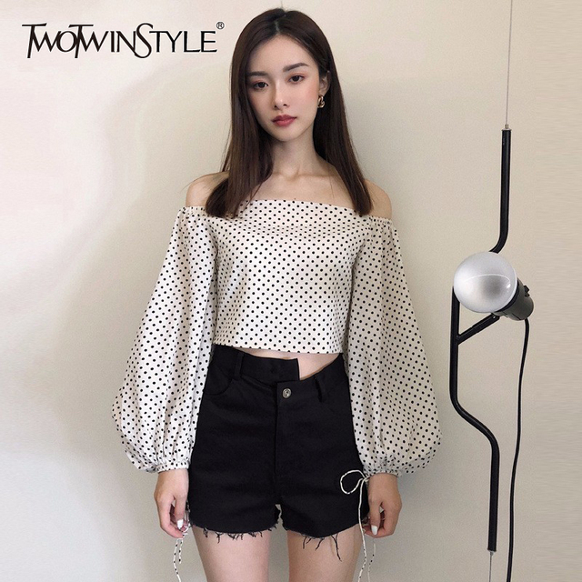 fccd3e2bb61e7 TWOTWINSTYLE Dot Women s Blouse Slash Neck Off Shoulder Lantern Sleeve Draw String  Crop Top Shirt Summer Fashion Vintage Clothes