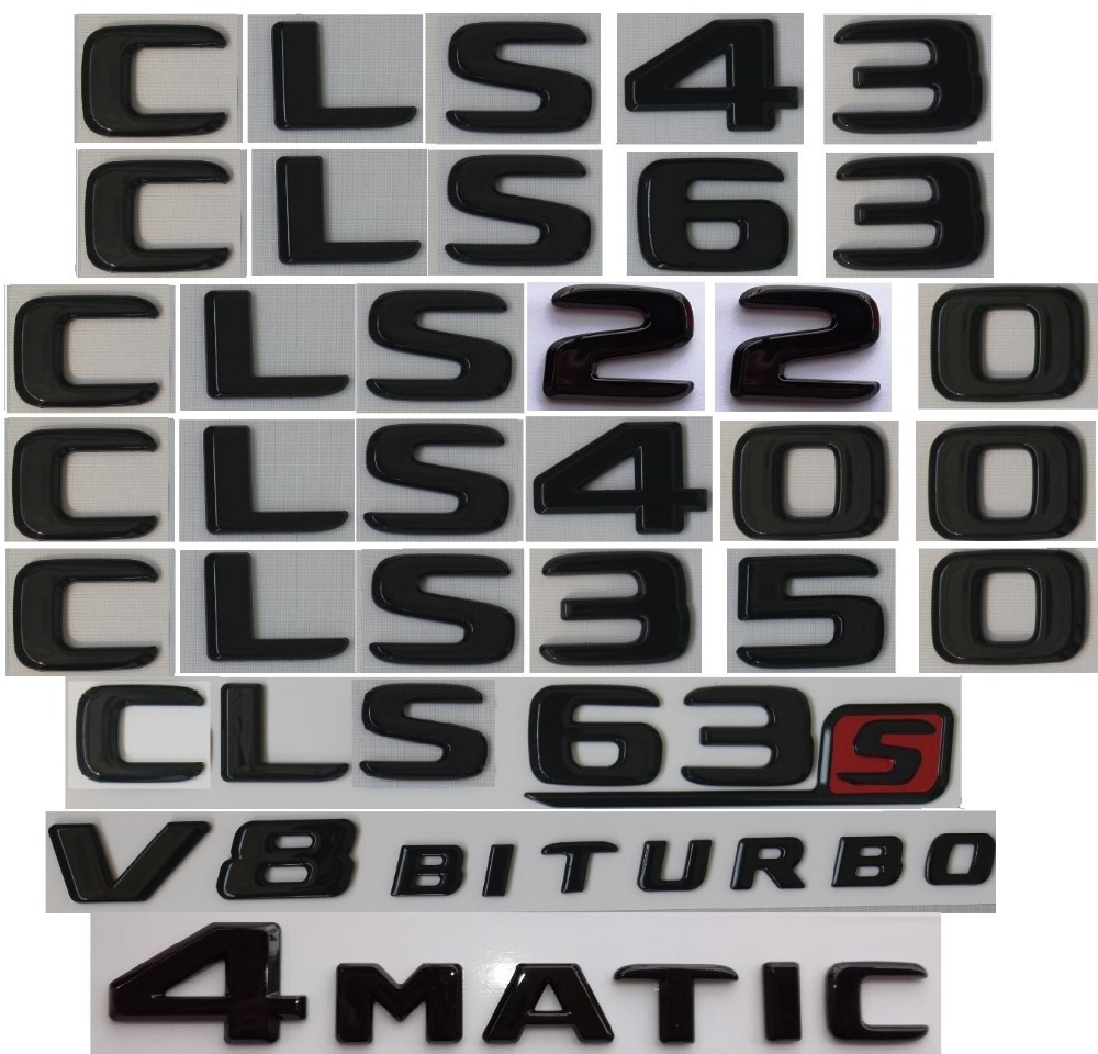 2018 Flat CLS550 Gloss Black Letters Emblem Badge Sticker for Mercedes Benz