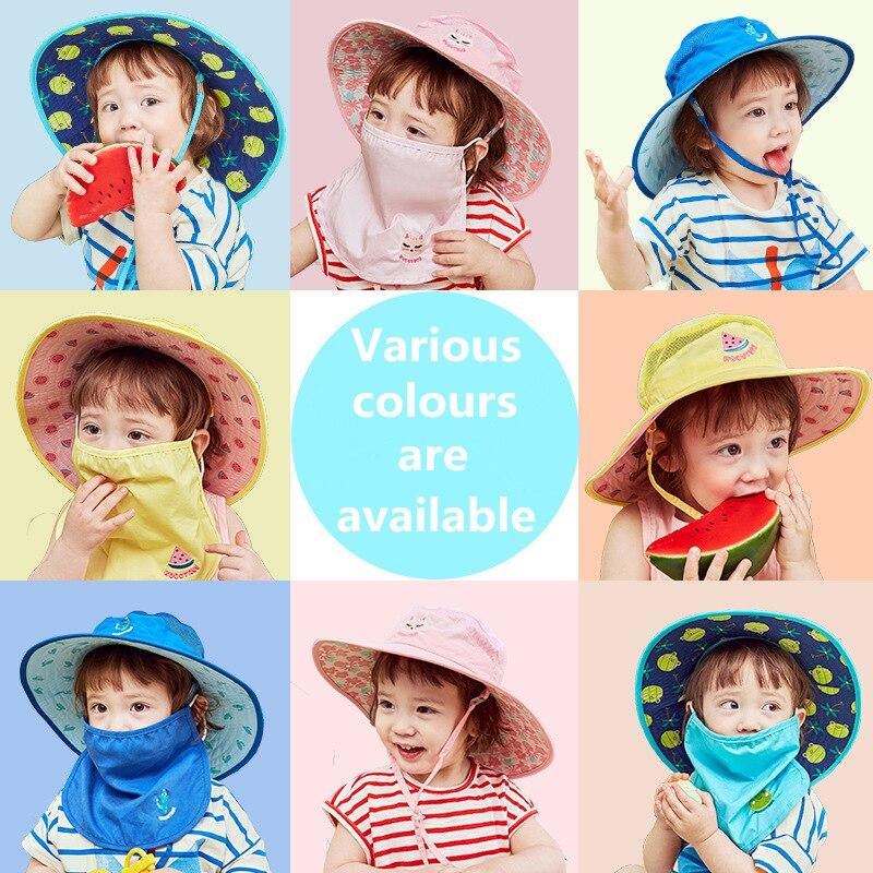 Kocotree Fruits Pattern Sun Hats Children's Beach Caps Kids Foldable Caps With Wide Brim Anti-uv Hats Outdoor Boys Girls Sun Hat
