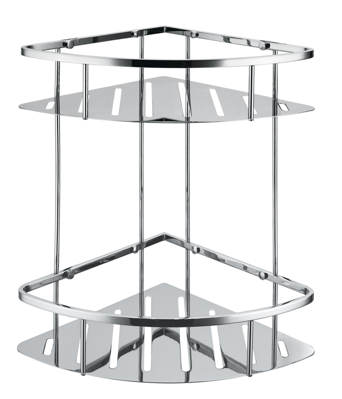 free shipping 304 stainless steel new triangle double shower caddy brushed nickel double corner basket storage