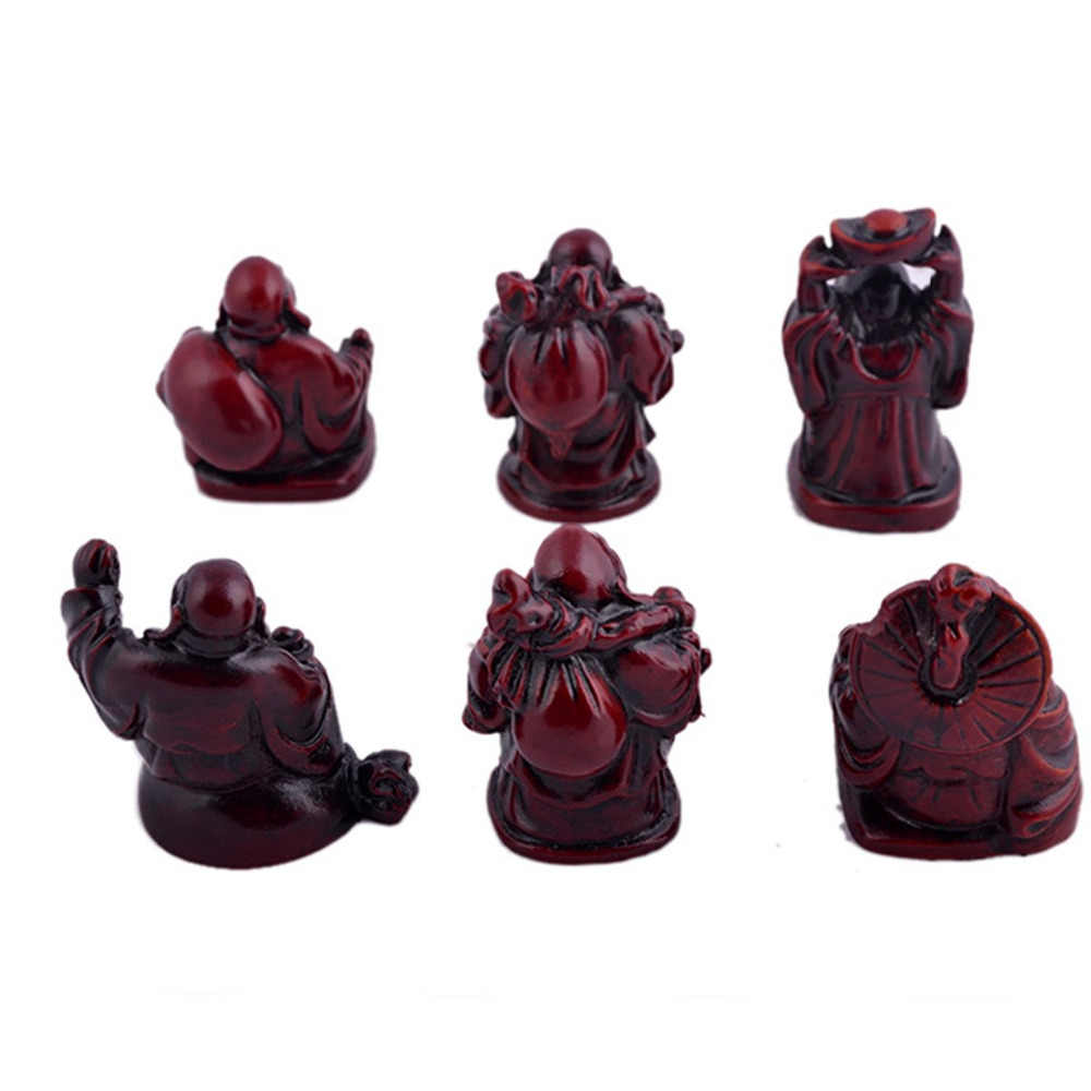 6 Kecil Buddha Figurines Feng Shui Resin Rosewood C1024