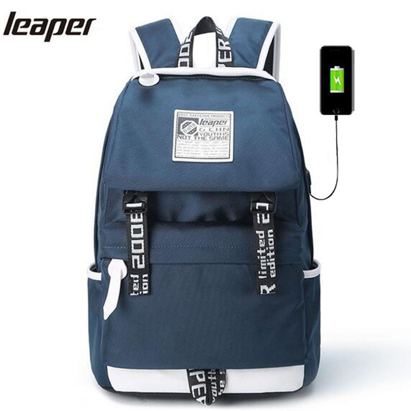 Leaper Men Backpack USB Charging School Bags For Teenagers 15.6 Inch Designer Student Waterproof Laptop Backpack For Men Travel 14 15 15 6 inch flax linen laptop notebook backpack bags case school backpack for travel shopping climbing men women