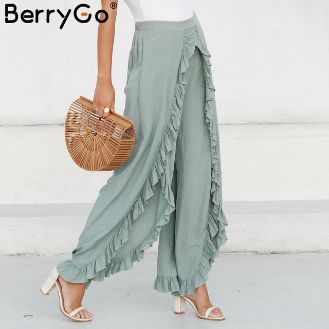 BerryGo Vintage ruffle casual pants capri High waist baggy split fashion pants women Retro wide leg female trousers bottoms 2018 3