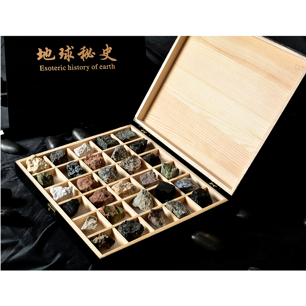 Rock & Mineral Collection - Igneous Rock Set Geology Specimens Earth Science Educational Toy - Wooden Box Of 30pcs Magmatic Rock rock