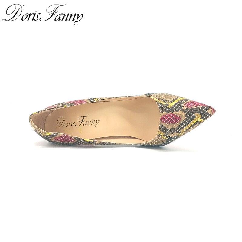 DorisFanny/африканские женские туфли со змеиным принтом и сумочка в комплекте; туфли лодочки на высоком каблуке 12 см - 4