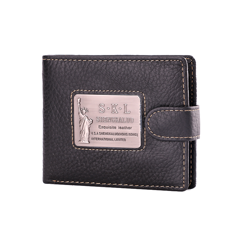 Men leather wallets black Cowhide Real Genuine Leather Bifold Zipper Pocket Wallet ID Cr ...