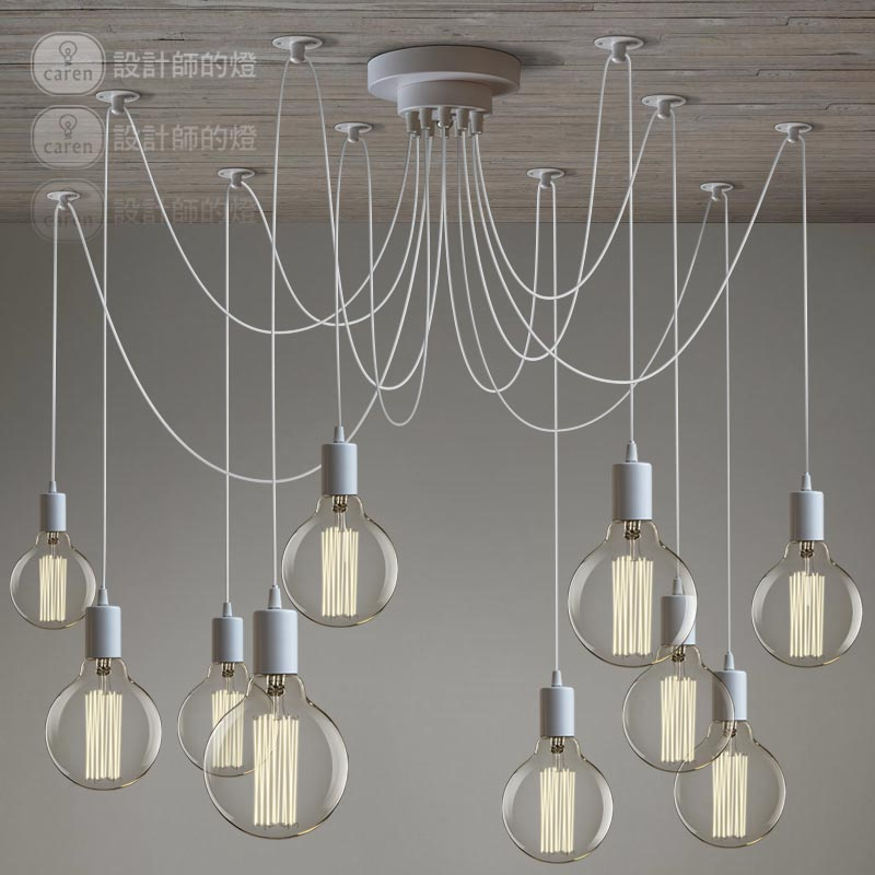 nordic vintage white lustre chandeliers 6 10 arms retro adjustable edison bulb diy e27 art. Black Bedroom Furniture Sets. Home Design Ideas