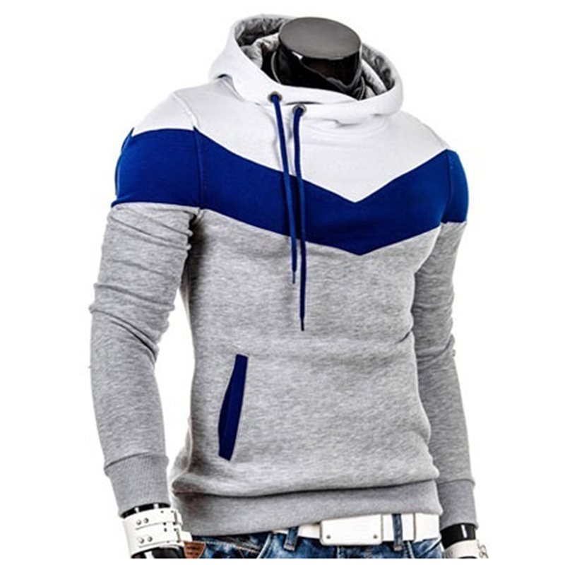 Fashion Autumn Hoodies Men Sweatshirt Male Stitching Hooded Hip Hop Long Sleeve Sweatshirt Men Silm Hoodies Outwear(China)