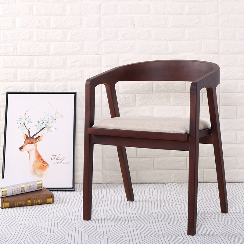 Nordic Wooden Dining Chair American Vintage Home Furniture Coffee Restaurant Bedroom Study Casual Simple with Armrest Back Chair