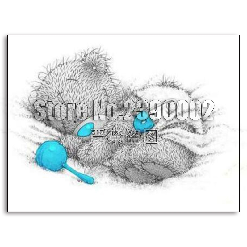 Diy 5d Diamond Painting Cross Stitch Cute Sleeping Baby Tatty Teddy Bear Diamond Embroidery Painting Cartoon animal Full Kit Сумка