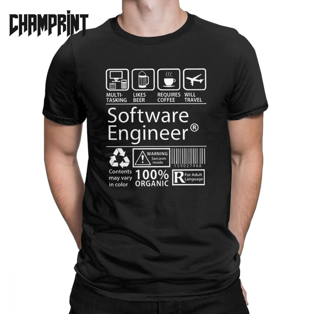 Software Engineer Programming   T  -  Shirt   Men Eat Sleep Code Repeat Programmer Developer Awesome Cotton Tees   T     Shirt   Plus Size Tops