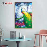 Dpkiss 72 112cm 5D DIY Diamond Painting Embroidery Animal Peacock Full Special Shaped Round Daimond Painting