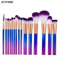 Pro 15pcs Purple Makeup Brushes Set Powder Foundation Eyeshadow Eyeliner Lip Contour Concealer Smudge Brush Cylindrical