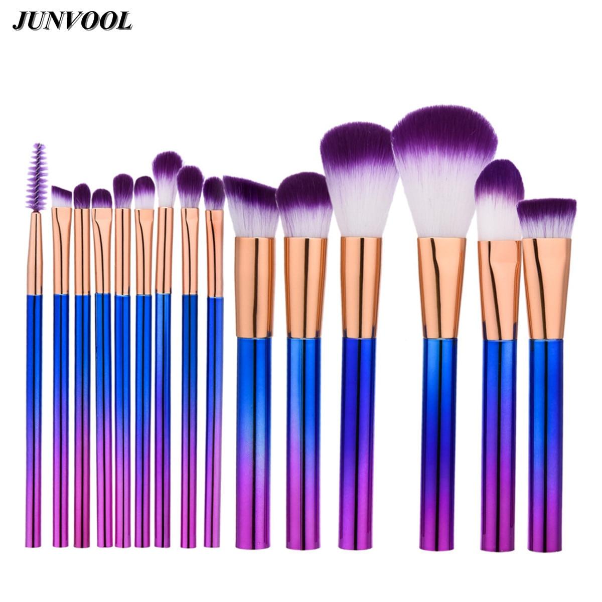 Pro 15pcs Purple Makeup Brushes Set Powder Foundation Eyeshadow Eyeliner Lip Contour Concealer Smudge Brush Cylindrical Handle mac splash and last pro longwear powder устойчивая компактная пудра dark tan