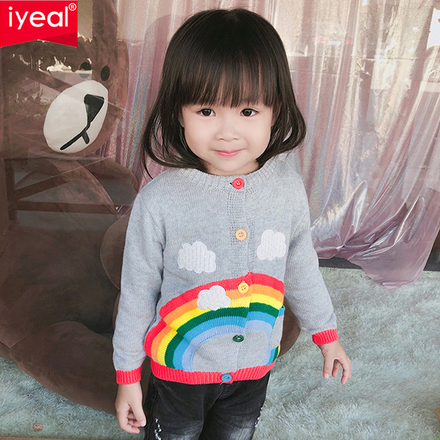 3764df6f6845 IYEAL Cotton Kids Cardigan Girls Children s Knit Cardigan Rainbow ...