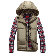 The winter heat down new males's hooded cotton younger male slim vest